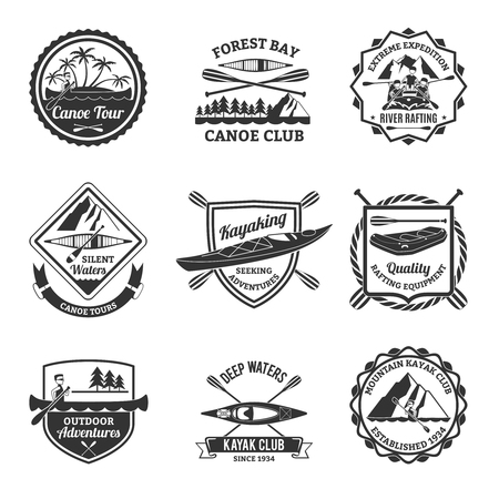river rafting: Canoe and kayak sport clubs equipment black emblems and river rafting  labels collection abstract isolated vector illustration