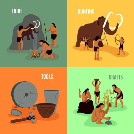 jaskinia: Prehistoric Stone Age jaskiniowiec jako elementy plemię narzędzi myśliwskich i rzemiosła płaskich obrazów 2x2 zestaw ilustracji wektorowych