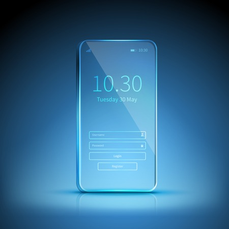 Blue transparent smartphone image swiched on and waiting for registration on blue background vector illustration