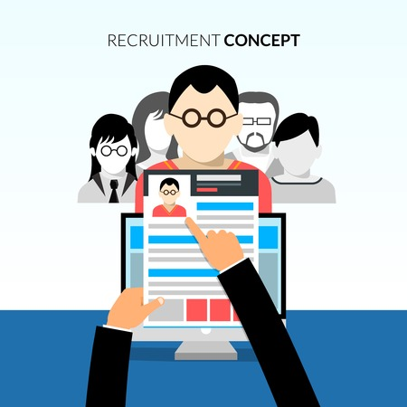 candidates: Recruiment flat concept with recruiter holding cv and candidates on background vector illustration