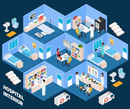 Ziekenhuis isometrische interieur met medisch personeel en patiënten vector illustratie