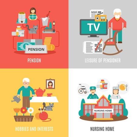 aficiones e intereses de pensiones de ocio de los pensionistas y de enfermería en casa 2x2 imágenes set ilustración vectorial plana