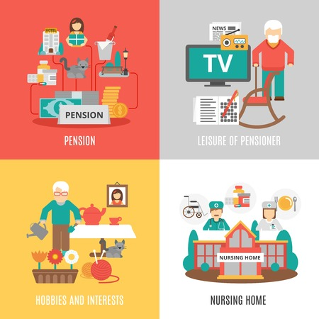 element old: Pension hobbies and interests leisure of pensioner and nursing home 2x2 images set flat vector illustration