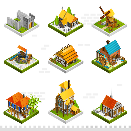 Medieval isometric buildings collection with ancient citadel houses on stilts mill and well isolated vector illustration Ilustração