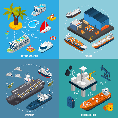 vessel: Oil tanker and luxury vacation passenger liner vessels 4 isometric icons square composition poster abstract isolated vector illustration