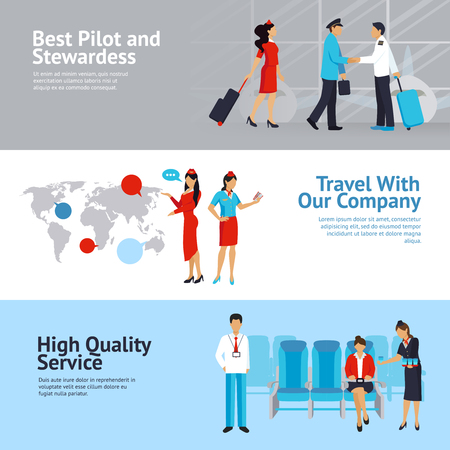 departing: Airlines horizontal banners set with high quality service symbols flat isolated vector illustration Illustration