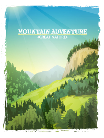 slopes: Mountains sunny green slopes landscape design travel outdoor adventures background poster abstract illustration vector Illustration