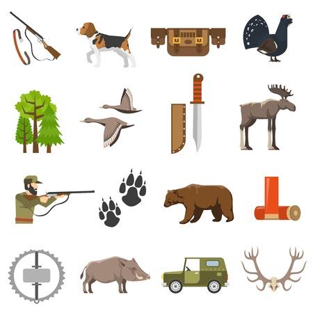 Flat jacht iconen kleur set van wilde dieren en vogels jager met geweer jeep en geïsoleerde bandolier vector illustratie