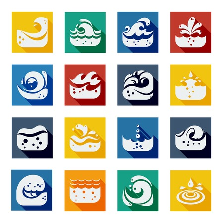 spume: Swirling white spume wave icons set in colorful isolated squares flat vector illustration Illustration