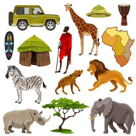 Africa cartoon icons set with zebra lion and hippo isolated vector illustration