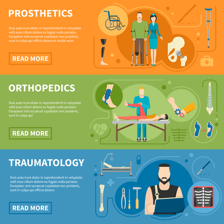 orthopedic: Traumas medical help advertising of prosthetics orthopedics and traumatology horizontal banners flat vector illustration