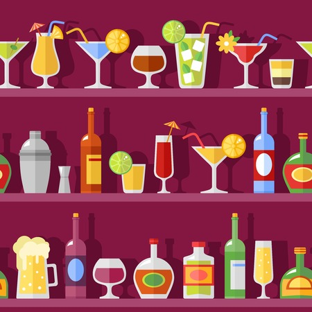 retro glasses: Vector background illustration with flat shadow bottles and cocktail glasses on shelves in retro style Illustration