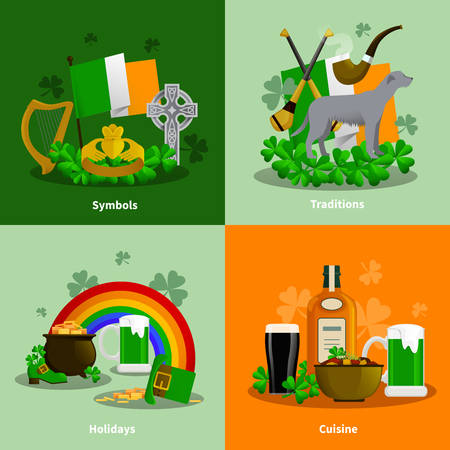 simbols: Ireland 2x2 flat design concept set of cuisine traditions simbols holidays decorative compositions  vector illustration