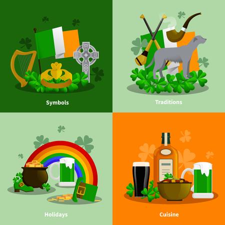 traditions: Ireland 2x2 flat design concept set of cuisine traditions simbols holidays decorative compositions  vector illustration