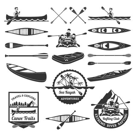 Sea Kayak Adventures emblemen en extreme raften apparatuur elementen zwarte pictogrammen samenstelling abstract geïsoleerde vector illustratie Stock Illustratie