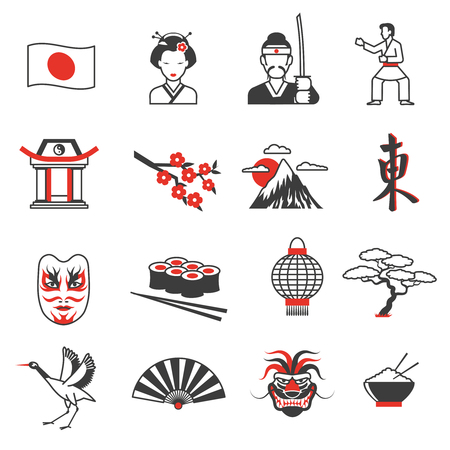 traditions: Japan red black icons set with culture and traditions symbols flat isolated vector illustration Illustration