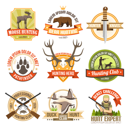 moose hunting: Flat color hunting emblems with images of ducks bear moose and aiming hunter with dog isolated vector illustration