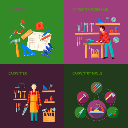 Carpentry works flat icons set composition design with tools carpenter joinery products isolated vector illustration