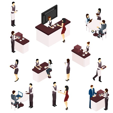serving people: Barista people serving coffee in a cafe isometric set isolated vector illustration