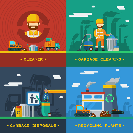 disposal: Garbage removal 2x2 flat design concept with rubbish cleaning disposal technique and recycling plants vector illustration