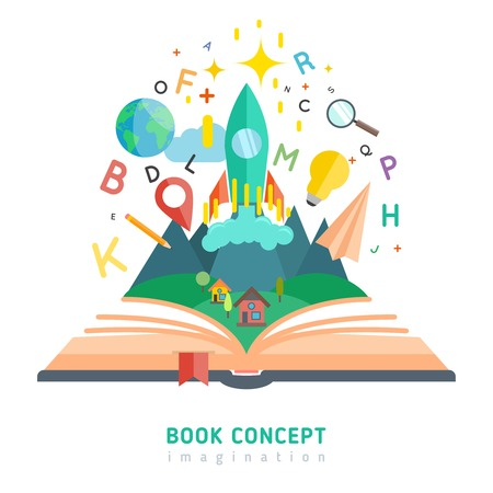 story: Book concept with flat imagination and education symbols vector illustration Illustration