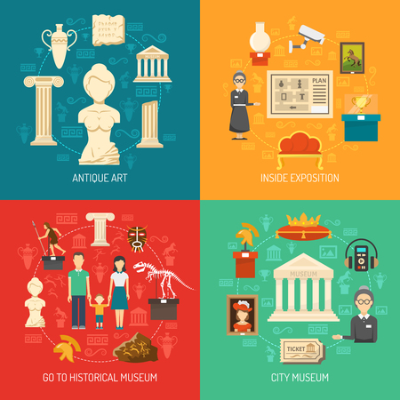 Museum 2x2 design concept set of antique art elements inside exposition visitors and caretakers flat vector illustration