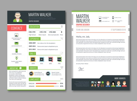 CV layout template with candidate education and job experience resume information vector illustration