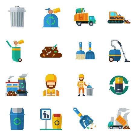 Garbage recycling flat color icons set of dump truck garbage can processing plant isolated vector illustration Illustration