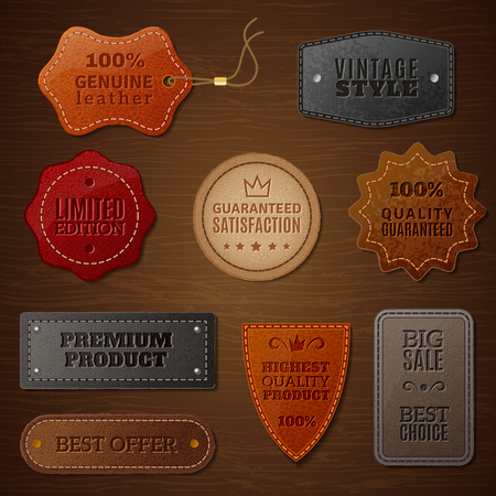 Set of leather labels for clothes on a brown wood background in vintage style vector illustration