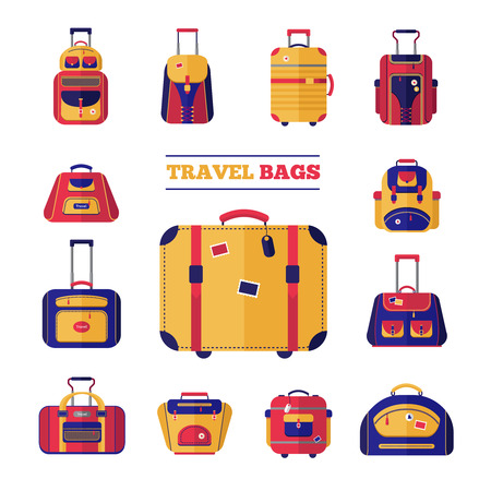 travel bags: Flat design style modern icons set of luggage travel bags set vector illustration