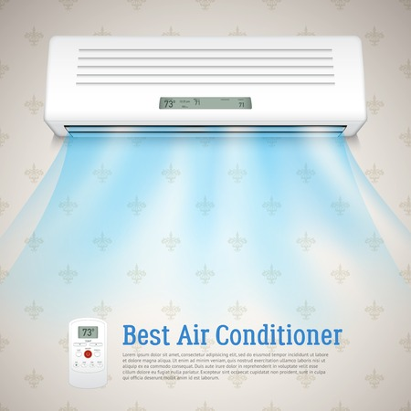 conditioner: Best air conditioner realistic background with cold air symbols vector illustration