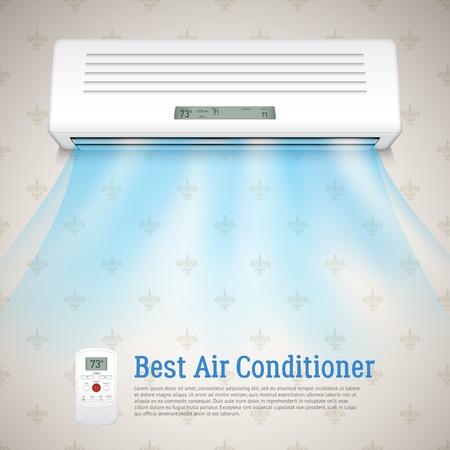 meteo: Miglior condizionatore sfondo realistico con i simboli di aria fredda illustrazione vettoriale Vettoriali