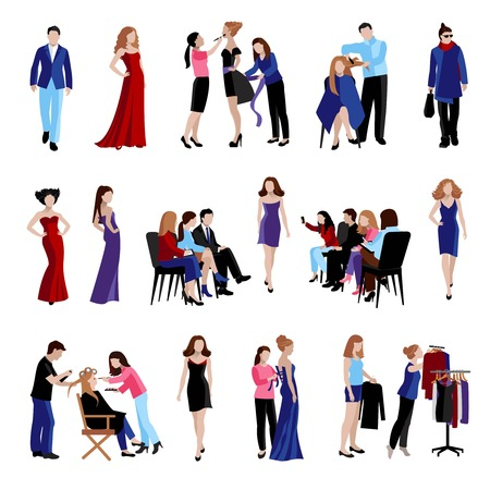 catwalk model: Fashion model flat icons set with dress changing and catwalk isolated vector illustration Illustration