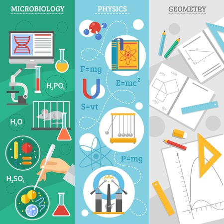Exact science 3 flat vertical banners set with microbiology physics and geometry symbols abstract isolated vector illustration Illustration