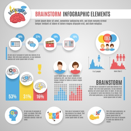 data management: Brainstorm infographics set with innovative thinking strategy symbols and charts vector illustration