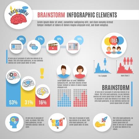 infographies Brainstorm fixés avec des symboles et des cartes de stratégie de pensée novateurs illustration vectorielle