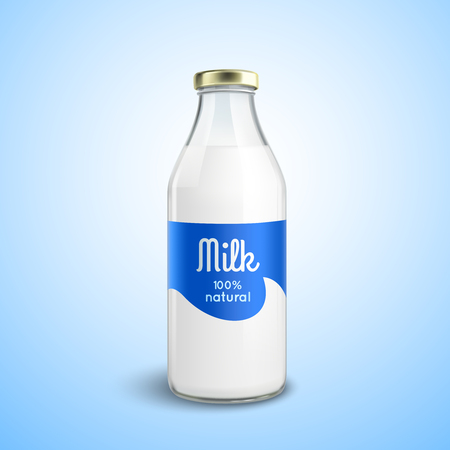 milk jugs: Closed traditional glass bottle of natural milk with glossy cap isolated vector illustration