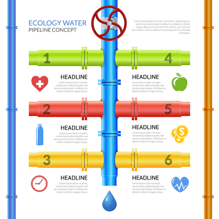 pipes: Infographic design template on theme ecology water pipeline with pipes valve and technological information vector illustration