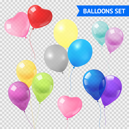 balloon background: Air balloons in different shapes and colors realistic set on transparent background  isolated vector illustration