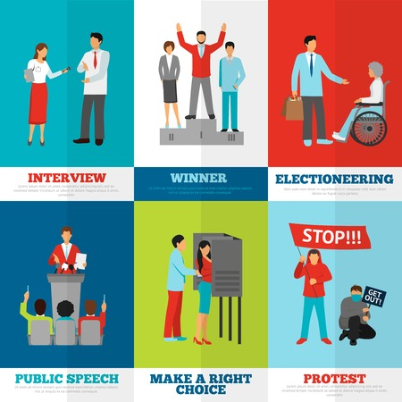 electioneering: Elections and politics banners set with interview public speech and protest symbols flat isolated vector illustration
