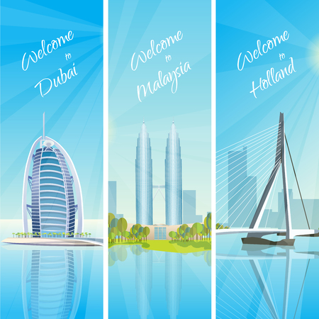 distinctive: Modern cityscapes 3 vertical banners travel poster with kuala lumpur twin towers and rotterdam harbor vector illustration