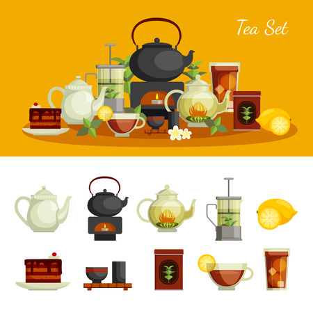 oolong: Tea icons set with lemon sugar and cake flat isolated vector illustration