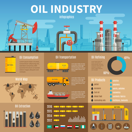 illustration: Oil industry vector infographics with extraction transportation and consumption statistics products of refining information and petrol station illustration