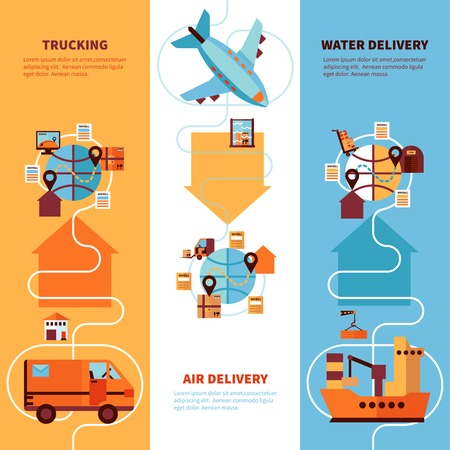 trucking: Logistics vertical flat banners set of trucking by earth air and water delivery design compositions vector illustration
