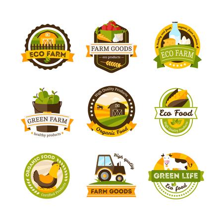 vegan: Set of isolated organic food farm emblems or labels set on white background vector illustration Illustration