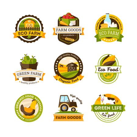 Set of isolated organic food farm emblems or labels set on white background vector illustration Illustration