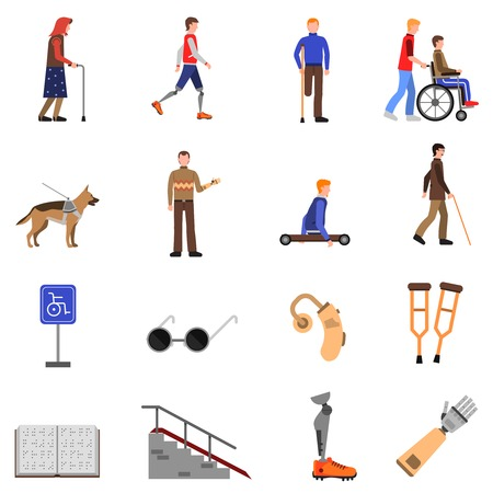 dog wheelchair: Disabled people signs and accessories flat icons set with guide dog and wheelchair abstract isolated vector illustration