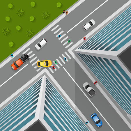 business district: Top view on city crossroad in 3d design with cars pedestrians truck in business district vector illustration