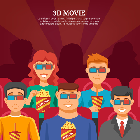 nomination: Cinema design concept with viewers watching 3d movie and eating popcorn flat vector illustration
