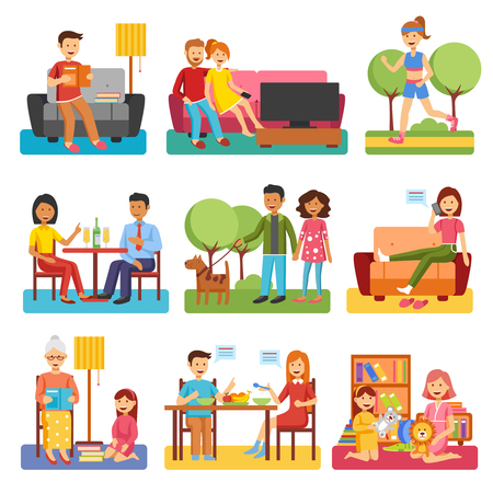 husband: Family flat style people figures website icons set of parents children couple icons set isolated vector illustration collection